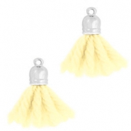 Ibiza style tassels with end cap Silver-light yellow