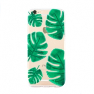 Trendy phone cases for Iphone 6 Plus palm leaf Transparent-green