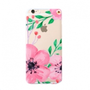 Trendy phone cases for Iphone 6 flower Transparent-pink green