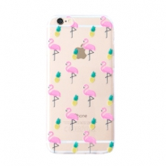 Trendy phone cases for Iphone 5 flamingo & pineapple Transparent-yellow pink