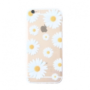 Trendy phone cases for Iphone 5 daisies Transparent-white yellow
