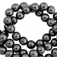 Round hematite beads 6mm  Anthracite grey