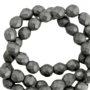 Round hematite beads 6mm faceted cut Anthracite grey