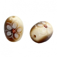 DQ acrylic carved oval Polaris beads Brown-beige