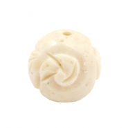 DQ acrylic carved Polaris beads 20mm Beige