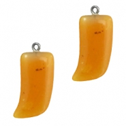 DQ acrylic pendant shark tooth Topaz orange