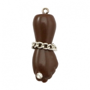 DQ acrylic charm hand with rhinestone and belcher chain Dark brown