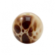 Round DQ acrylic Polaris beads Leopard 18mm Brown-beige