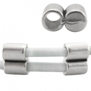 DQ metal end cap /clasp for 3mm leather Antique  Silver (nickel free)