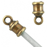 DQ metal end cap (for 2mm leather) Antique Bronze (nickel free)
