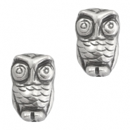 DQ acrylic beads metal look owl Silver
