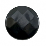 Flat DQ acrylic beads 30mm round faceted Black