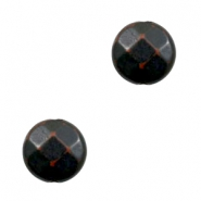 Flat DQ acrylic beads 14mm round faceted Dark-brown black