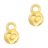 Round DQ metal charms heart 6mm Gold (nickel free)