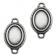 TQ metal charms oval setting 19x14mm Antique silver