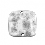 TQ metal charms square connector flat Antique silver