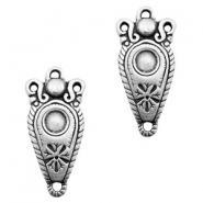 TQ metal charms connector with setting 3 eyes Antique silver