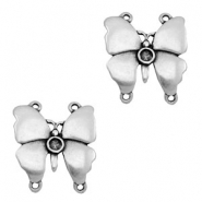 TQ metal charms connector butterfly with settings Antique silver