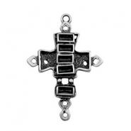 TQ metal charms connector cross with settings Antique silver
