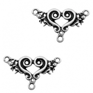 TQ metal charms heart shaped connector Antique silver