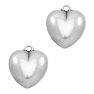 TQ metal heart shaped charms Antique silver