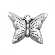 TQ metal charms butterfly with rhinestones Antique silver