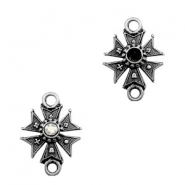 TQ metal charms connector medal star with setting Antique silver