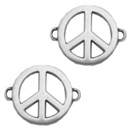 TQ metal charms peace signconnector Antique silver