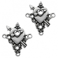 TQ metal charms heart & arrow connector Antique silver