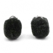 Pompom charm with eye silver 15mm Anthracite black