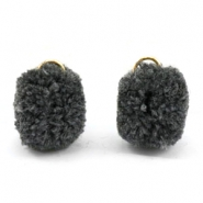 Pompom charm with eye gold 15mm Anthracite grey
