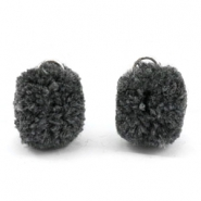 Pompom charm with eye silver 15mm Anthracite grey