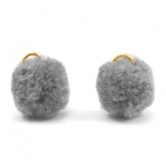 Pompom charm with eye gold 15mm Dark grey