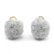 Pompom charm with eye gold 15mm Grey