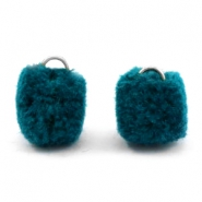Pompom charm with eye silver 15mm Petrol green