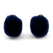 Pompom charm with eye silver 15mm Dark blue