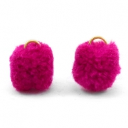 Pompom charm with eye gold 15mm Dark pink