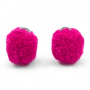 Pompom charm with eye silver 15mm Fuchsia pink