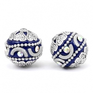 Bohemian beads 20mm Cobalt blue-silver