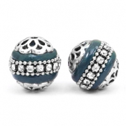 Bohemian beads 16mm Petrol blue-silver