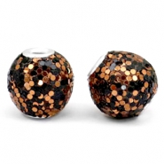 Bohemian beads 14mm Black-rose gold