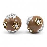 Bohemian beads 12mm Light brown-silver