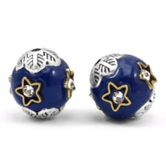 Bohemian beads 12mm Cobalt blue-silver