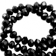 Top faceted beads 4x3mm disc Black-pearl high shine coating