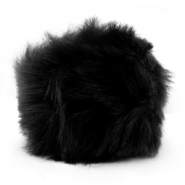 Faux fur pompom charm Black