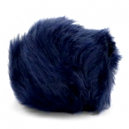 Faux fur pompom charm Dark blue
