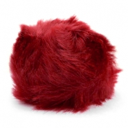 Faux fur pompom charm Burgundy red