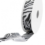 Elastic Ibiza Ribbon 25mm Black-White