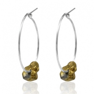Trendy earrings stone Silver