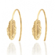 Trendy earrings open ring feather Gold